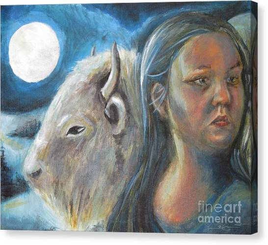 White Buffalo Portrait Canvas Print