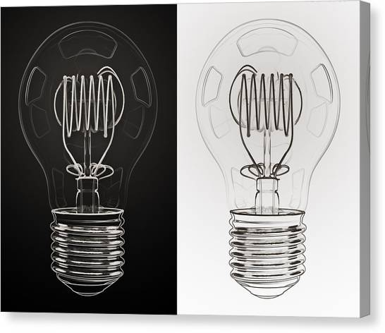 Shiny Canvas Print - White Bulb Black Bulb by Scott Norris