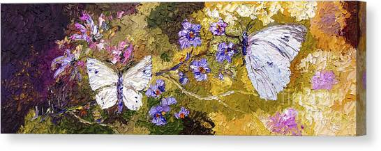 White Butterflies Impressionist Oil Painting Canvas Print