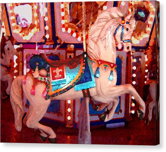 White Carousel Horse Canvas Print