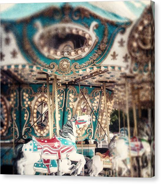 White Carousel Horse On Teal Merry Go Round Canvas Print by Lisa Russo