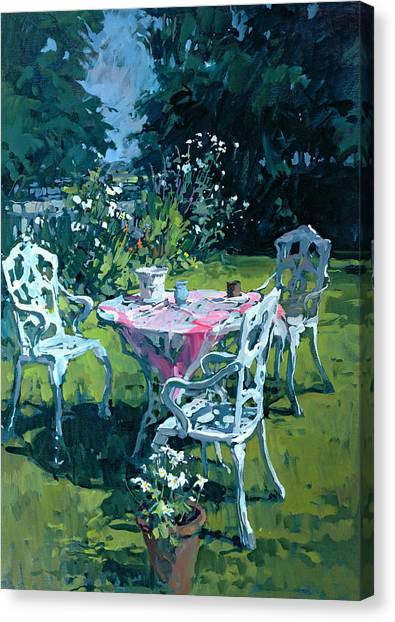Tea Set Canvas Print - White Chairs At Belchester by Susan Ryder