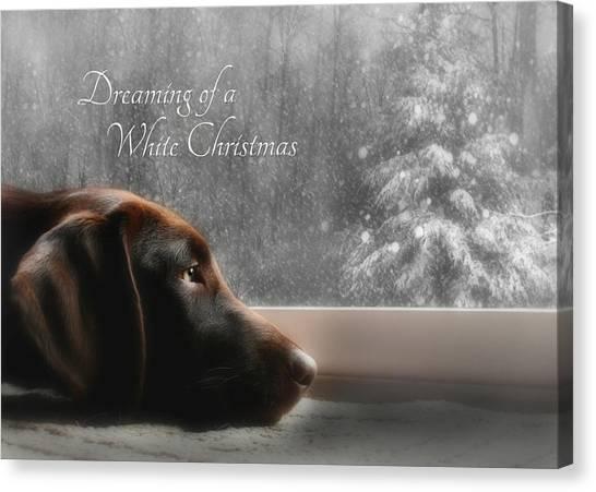 Labrador Retrievers Canvas Print - White Christmas by Lori Deiter