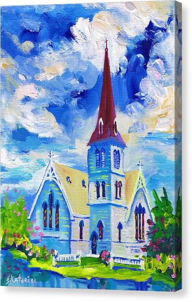 White Church Blue Sky Canvas Print