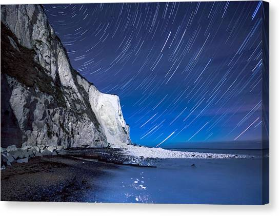 St Margaret Canvas Print - White Cliffs Of Dover On A Starry Night by Ian Hufton