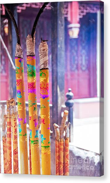 Temple Canvas Print - White Cloud Temple by Delphimages Photo Creations