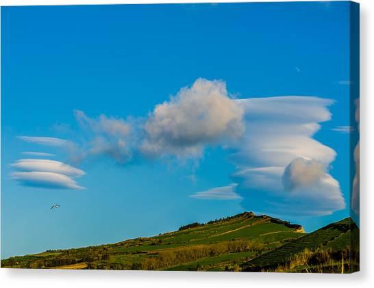 White Clouds Form Tornado Canvas Print