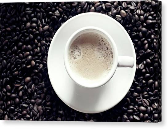 White Coffee Cup In Middle Of Coffee Canvas Print