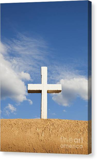 Canvas Print featuring the photograph White Cross On Adobe Wall by Bryan Mullennix