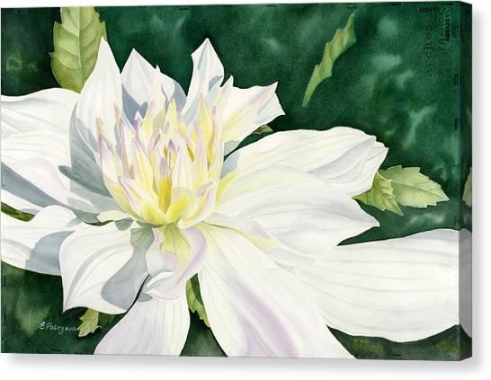 White Dahlia - Transparent Watercolor Canvas Print