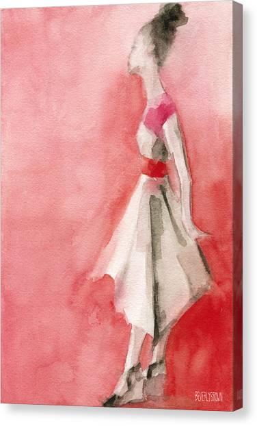 Fashion Illustrations Canvas Print - White Dress With Red Belt Fashion Illustration Art Print by Beverly Brown Prints