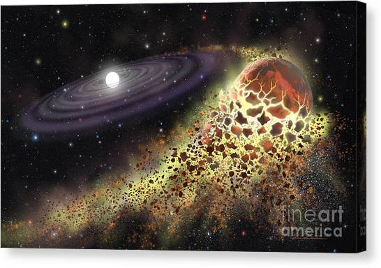 White Dwarf Shredding A Planet Canvas Print by Lynette Cook