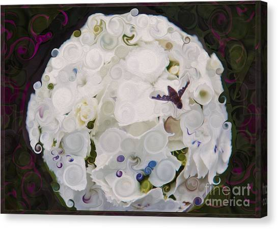 White Flower And Friendly Bee Mixed Media Painting Canvas Print
