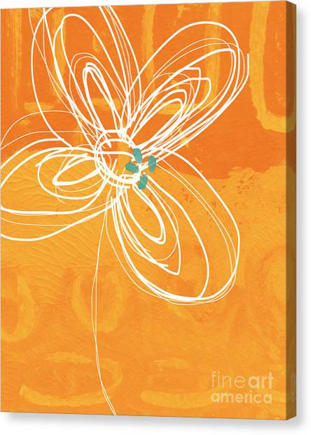 Garden Flowers Canvas Print - White Flower On Orange by Linda Woods