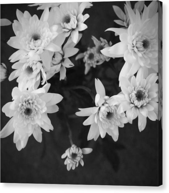 Wedding Bouquet Canvas Print - White Flowers- Black And White Photography by Linda Woods