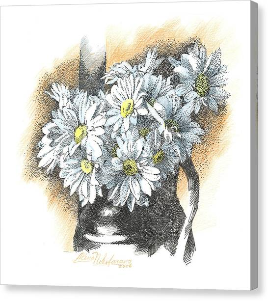 White Flowers Pointillism Drawing  Canvas Print