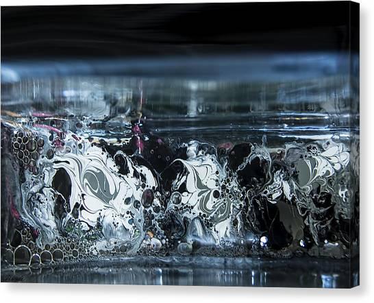 White Silver Fluid Motion 5 Canvas Print