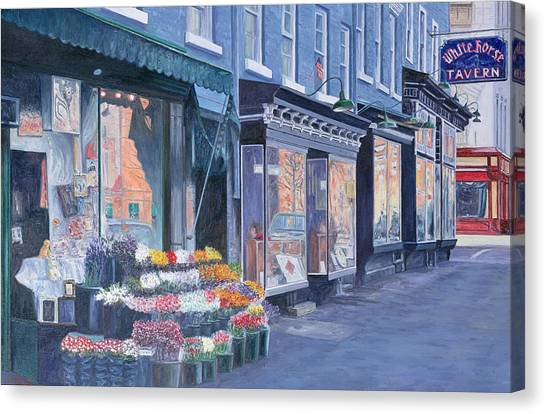 Flower Shop Canvas Print - White Horse Tavern Hudson Street West Village by Anthony Butera