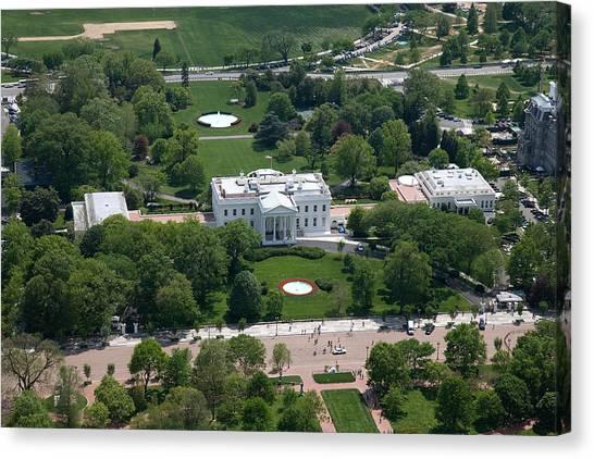 White House Canvas Print - White House Aerial Photograph by Adam Shaw
