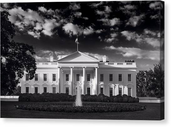 U. S. Presidents Canvas Print - White House Sunrise B W by Steve Gadomski