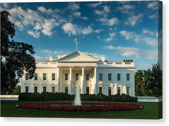 White House Canvas Print - White House Sunrise by Steve Gadomski