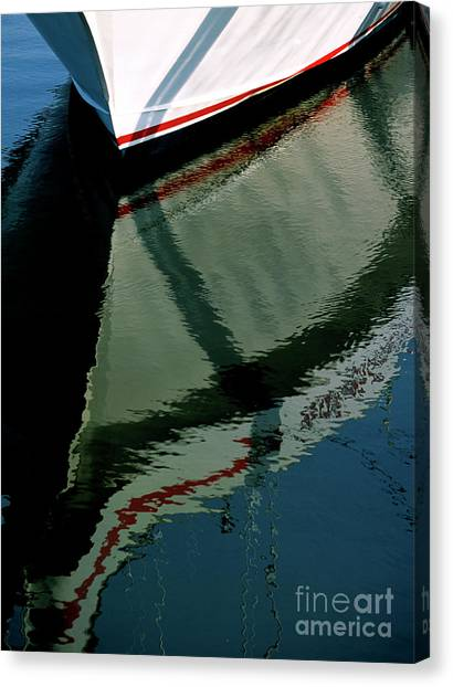 White Hull On The Water Canvas Print
