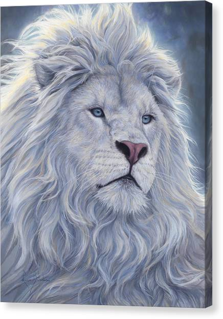 Lions Canvas Print - White Lion by Lucie Bilodeau