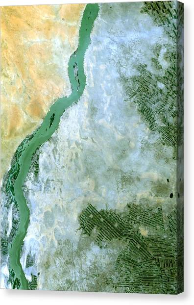 Satellite Canvas Print - White Nile Sudan by Anonymous