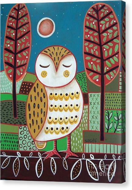 Owls Canvas Print - White Owl by Karla Gerard
