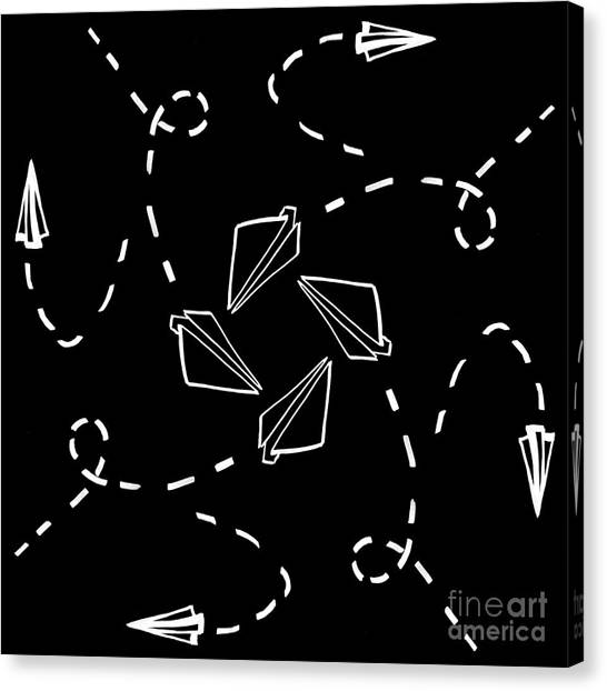 Paper Planes Canvas Print - White Paper Aeroplanes by Tim Hester