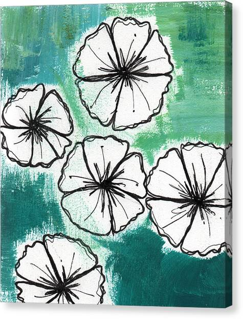 Tropical Canvas Print - White Petunias- Floral Abstract Painting by Linda Woods