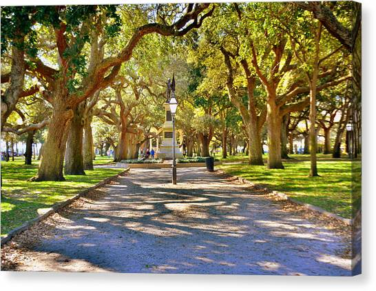 White Point Gardens At Battery Park Charleston Sc Hdr Canvas Print