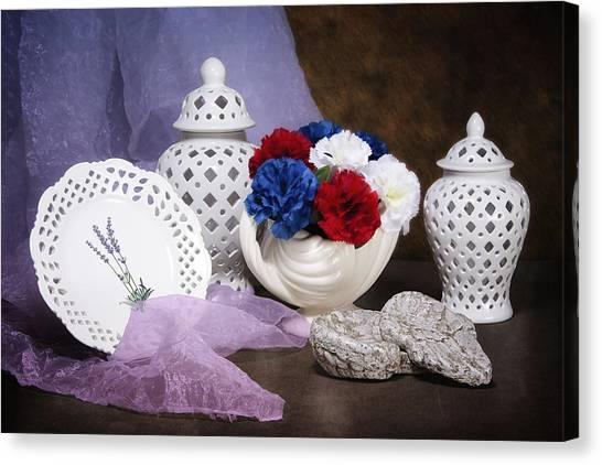 Cakes Canvas Print - White Porcelain Still Life by Tom Mc Nemar