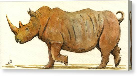 Rhinos Canvas Print - White Rhino by Juan  Bosco