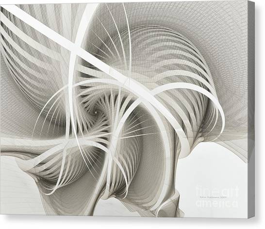 White Ribbons Spiral Canvas Print