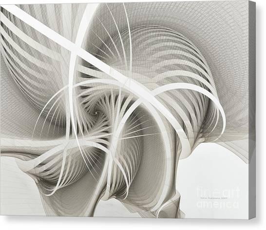 Dimensional Canvas Print - White Ribbons Spiral by Karin Kuhlmann