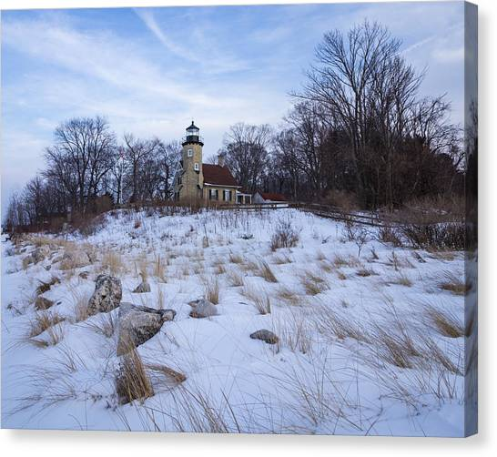 White River Lighthouse In Winter Canvas Print