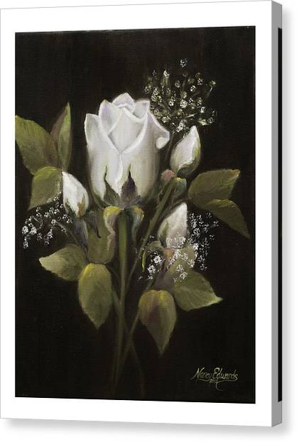 White Roses Canvas Print by Nancy Edwards