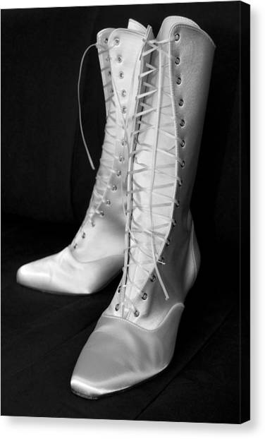 Shoe fetish canvas print white silk boots by mick house