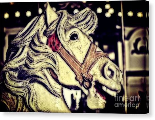 Casino Pier Canvas Print - White Steed - Antique Carousel by Colleen Kammerer