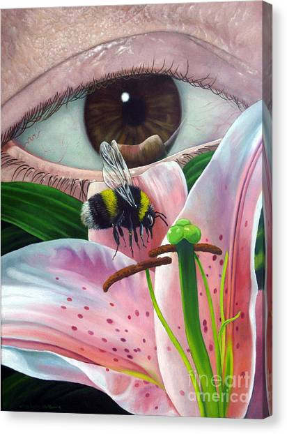 White Tailed Bumble Bee Upon Lily Flower Canvas Print