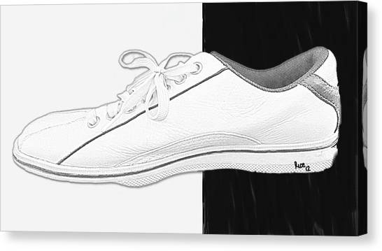 Bowling Shoes Canvas Print - White Tennis Shoe by Billy Cooper Rice