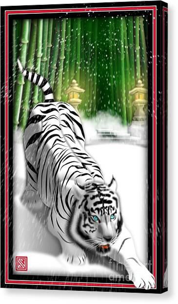 White Tiger Guardian Canvas Print