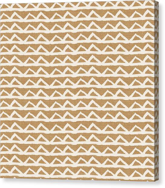 Pattern Canvas Print - White Triangles On Burlap by Linda Woods