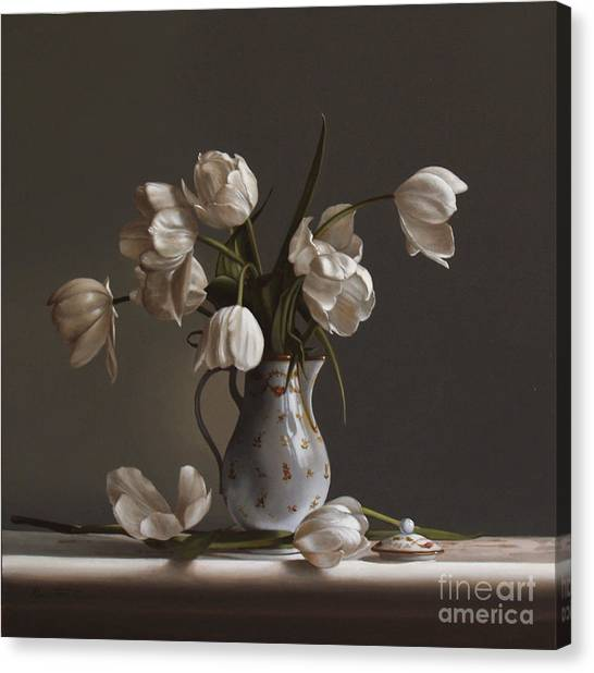 Oil Canvas Print - White Tulips by Lawrence Preston