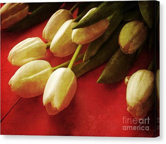 Wedding Day Canvas Print - White Tulips Over Red by Edward Fielding