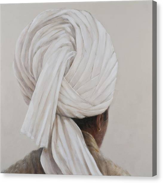 Head And Shoulders Canvas Print - White Turban, 2014 Oil On Canvas by Lincoln Seligman