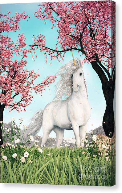 White Unicorn Amongst Cherry Trees Canvas Print