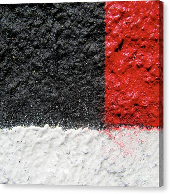 White Versus Black Over Red Canvas Print