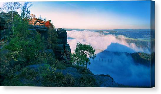 White Wafts Of Mist Around The Lilienstein Canvas Print